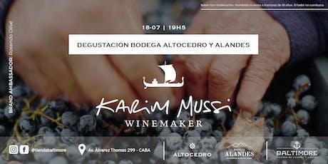 Degustación de vinos de Alta Gama de Karim Mussi entradas