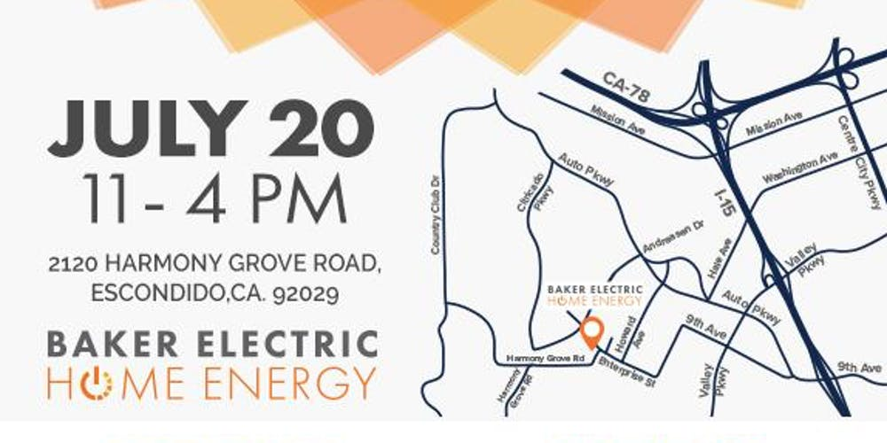 Baker Electric Solar >> Solar Discovery Day Free Event Tickets Sat Jul 20 2019 At 11 00