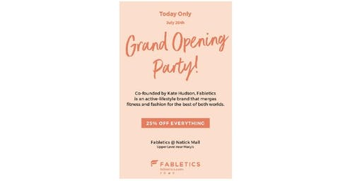 Fabletics Grand Opening Party at Natick Mall
