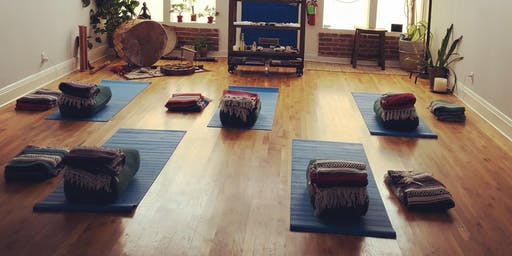 Yin Yoga.  Sound Bath.  Light Grid Healing