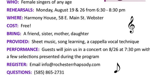 Summer SINGsation - with Rochester Rhapsody Women's A Capella Chorus