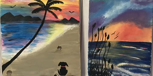 Pets on a beach or Island Scape Paint Night