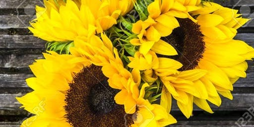 Wine & Design: Sunflower Bouquet & Boutonniere Class