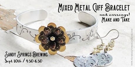 Mixed Metal Cuff Bracelet and Earrings Make and Take tickets