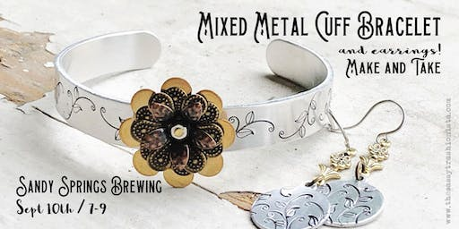 Mixed Metal Cuff Bracelet and Earrings Make and Take