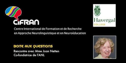 ANL - Rencontre avec Joan Netten, co-conceptrice de l'approche neurolinguistique d'enseignement des langues @ Harvergal College, Toronto; Canada