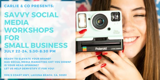 Savvy Social Media Workshop for Small Business, July 22-24, 5:30-8:30 PM