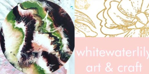 #imadeitmyself  -  Lazy Susan Resin Art with White Waterlily
