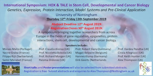 International Symposium: HOX and TALE in Stem Cell, Developmental and Cancer Biology