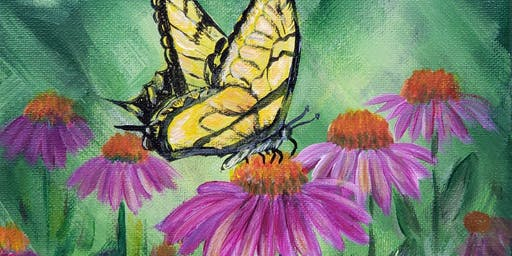 Butterfly and Coneflowers-Paint Night