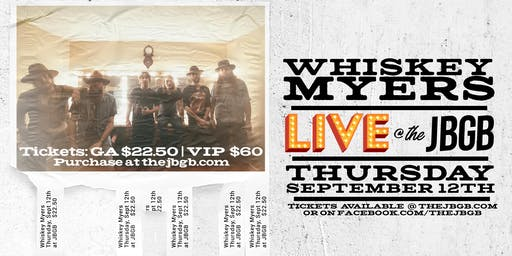 Whiskey Myers Live at JBGB Thursday, September 12th