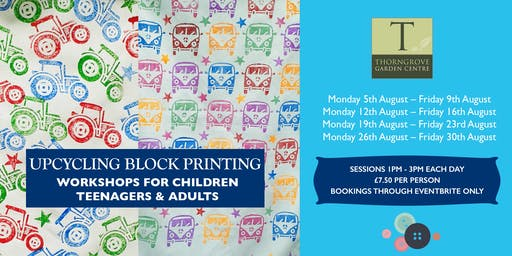 Upcycling block printing workshops for children, teenagers & adults!