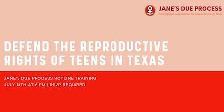 Jane's Due Process Hotline Training tickets