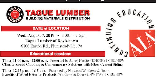 Tague Lumber Doylestown — FREE AIA Lunch & Learn on August 7, 2019