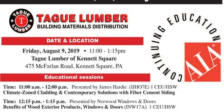 Tague Lumber Kennett Square — FREE AIA Lunch & Learn on August 9, 2019 tickets