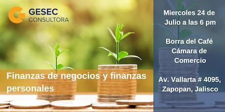 """Plática """"Finanzas de negocios y finanzas personales"""" boletos"""