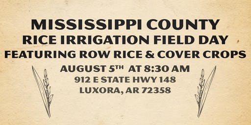 Rice Irrigation Field Day featuring Cover Crops and a Row Rice Field Demonstration
