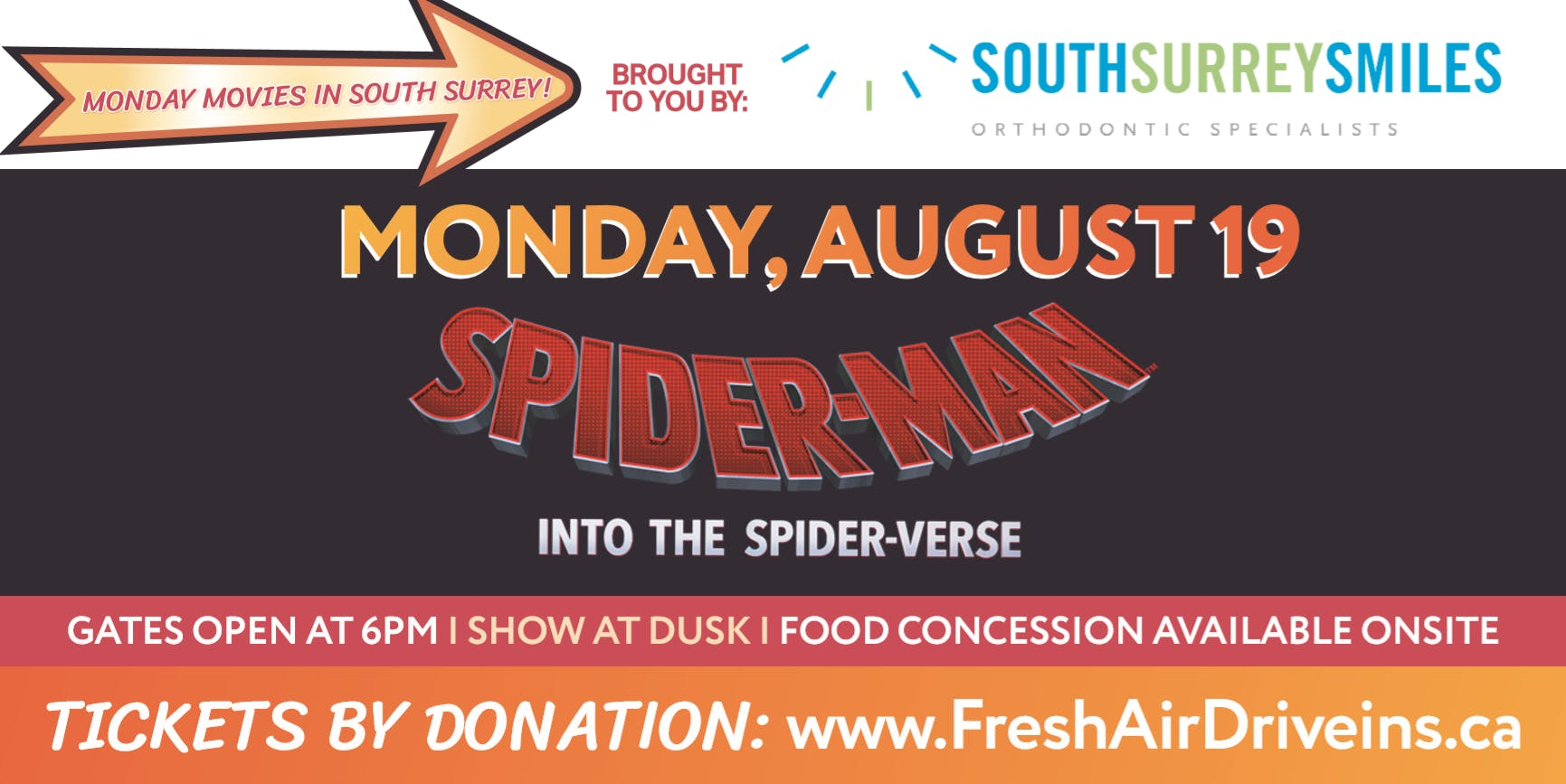 SPIDER-MAN: INTO THE SPIDERVERSE - South Surrey Smiles Drive-In - (Charity)