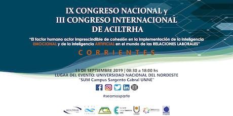 IX Congreso Nacional y III Congreso Internacional de ACILTRHA  entradas