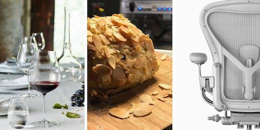 Wine. Bread. Design. Degustação de vinhos e  pães.