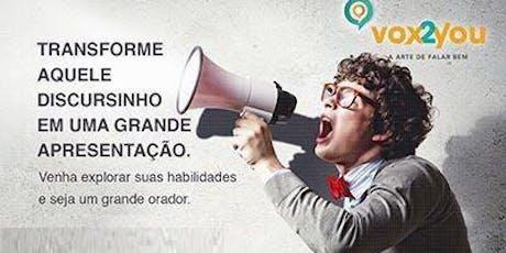 Vox2you Escola de oratória. AULA GRATUITA COM TÉCNICAS DE PNL!!!!!! ingressos