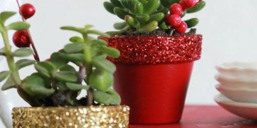 Glitter Succulent Christmas Pots Workshop