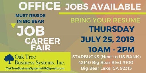 Office Jobs Career Fair - Big Bear Lake, CA