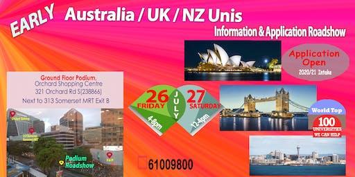 Early UK/Australia/NZ Unis Application & Info Roadshow (Fri & Sat)