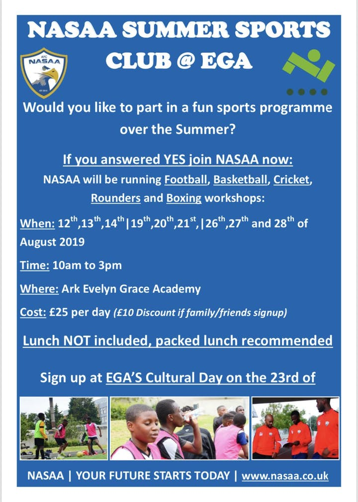 Nasaa Academy & EGA Summer Sports Club Tickets, Mon 12 Aug 2019 at