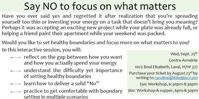 Workshop: Say No To Focus On What Matters