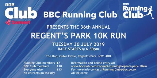 BBC Running Club 36th Annual 10k in Regent's Park (2019)