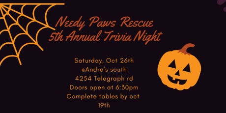 Needy Paws Rescue Trivia and Dinner 2019 tickets
