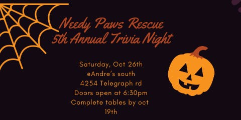 Needy Paws Rescue Trivia and Dinner 2019