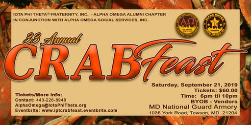 33rd Annual Alpha Omega Crab Feast