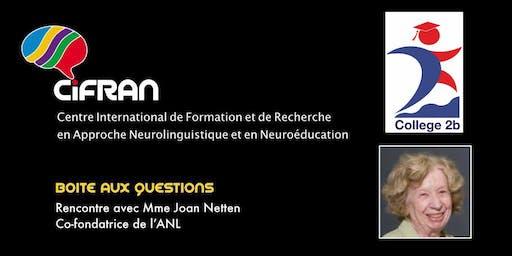 ANL - Rencontre avec Joan Netten, co-conceptrice de l'approche neurolinguistique d'enseignement des langues @ Montréal, Canada