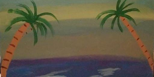 """Pour & Paint """"Beach Scene"""""""
