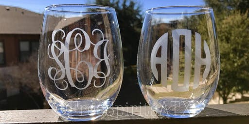 Wine glass etching with Canvas Paintings by Katie