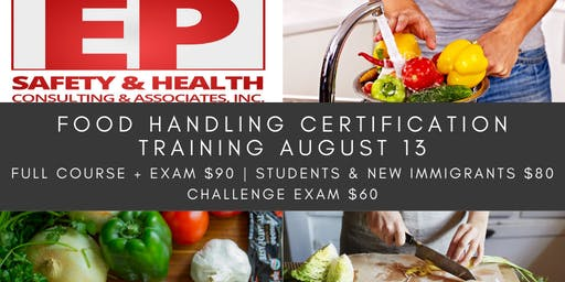 Food Handling Certification Training August 13