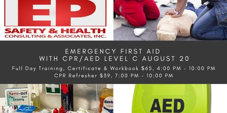 Emergency First Aid with CPR/AED Level C August 20 tickets