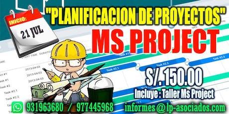 "CURSO: PLANIFICACIÓN DE PROYECTOS + Taller con ""MS PROJECT"" entradas"