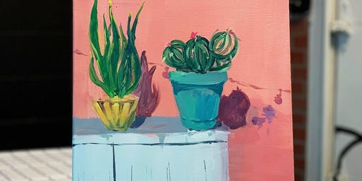 Paint & Sip -Art Class-Potted plant