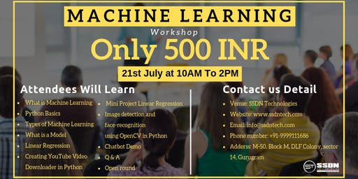 One Day workshop on Machine learning in Gurgaon (500 INR)