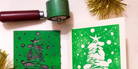 Make your own linocut Christmas cards workshop tickets
