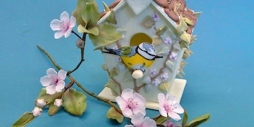 Bird House in Pastilage & Cherry Blossom in sugar