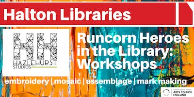Runcorn Heroes in the Library: Mark-making workshop by Hazlehurst Studios
