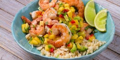 Healthful Cooking: Coconut & Yuzu Shrimp with Cucumber-Melon-Basil Salsa
