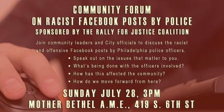 Police Racism on Facebook: A Community Forum tickets