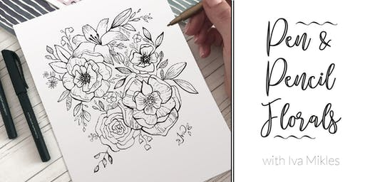 Florals with Calligraphy Marker Pen and Pencil (+ Terrace, Wine & Tapas)