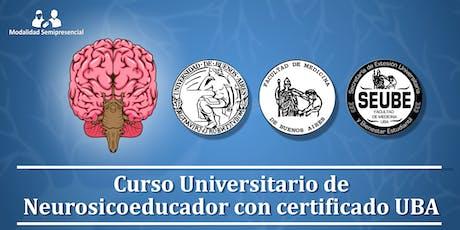 Inicio septiembre 2019: Curso Universitario de Neurosicoeducador con certificado UBA entradas