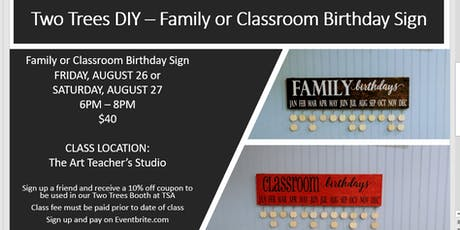 Two Trees DIY - Family or Classroom Birthday Sign tickets
